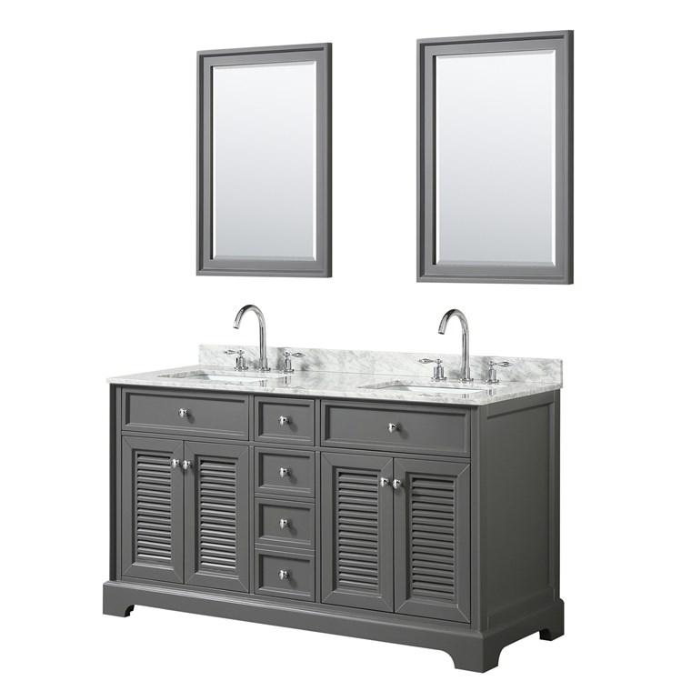Tamara 60u0026quot; Double Bathroom Vanity By Wyndham Collection   Dark Gray  WC 2121