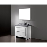 "Madeli Vicenza 36"" Bathroom Vanity with Quartzstone Top - Glossy White B999-36-001-GW-QUARTZ"