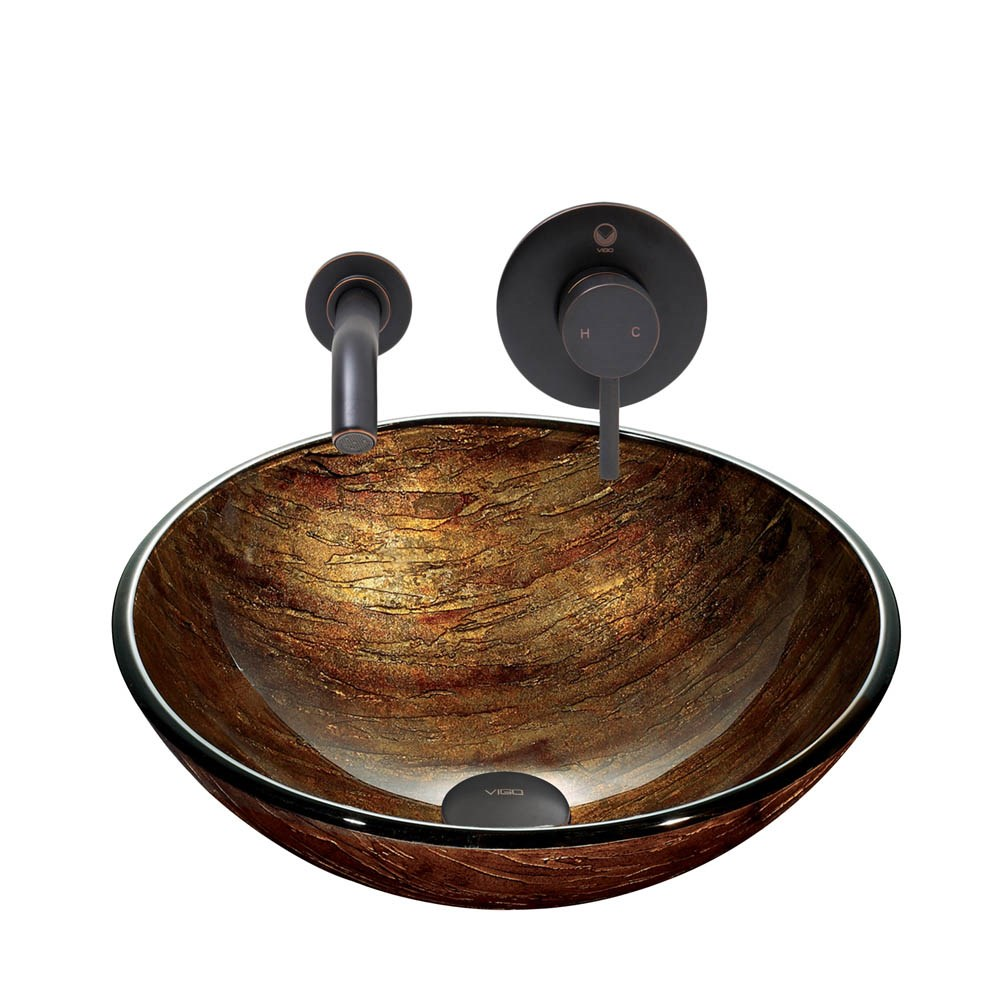 VIGO Amber Sunset Glass Vessel Sink and Olus Wall Mount Faucet Set in Antique Rubbed Bronze Finishnohtin Sale $225.90 SKU: VGT905 :