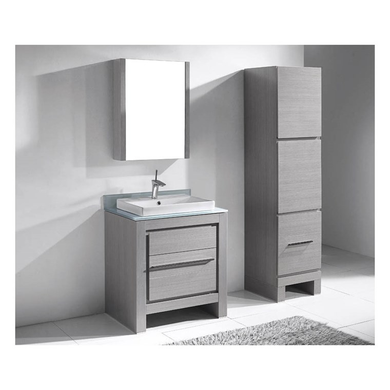 "Madeli Vicenza 30"" Bathroom Vanity for Glass Counter and Porcelain Basin - Ash Grey B999-30-001-AG-GLASS"