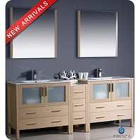 "Fresca Torino 84"" Light Oak Modern Double Sink Bathroom Vanity with Side Cabinet, Integrated Sinks, and Mirrors FVN62-361236LO-UNS"