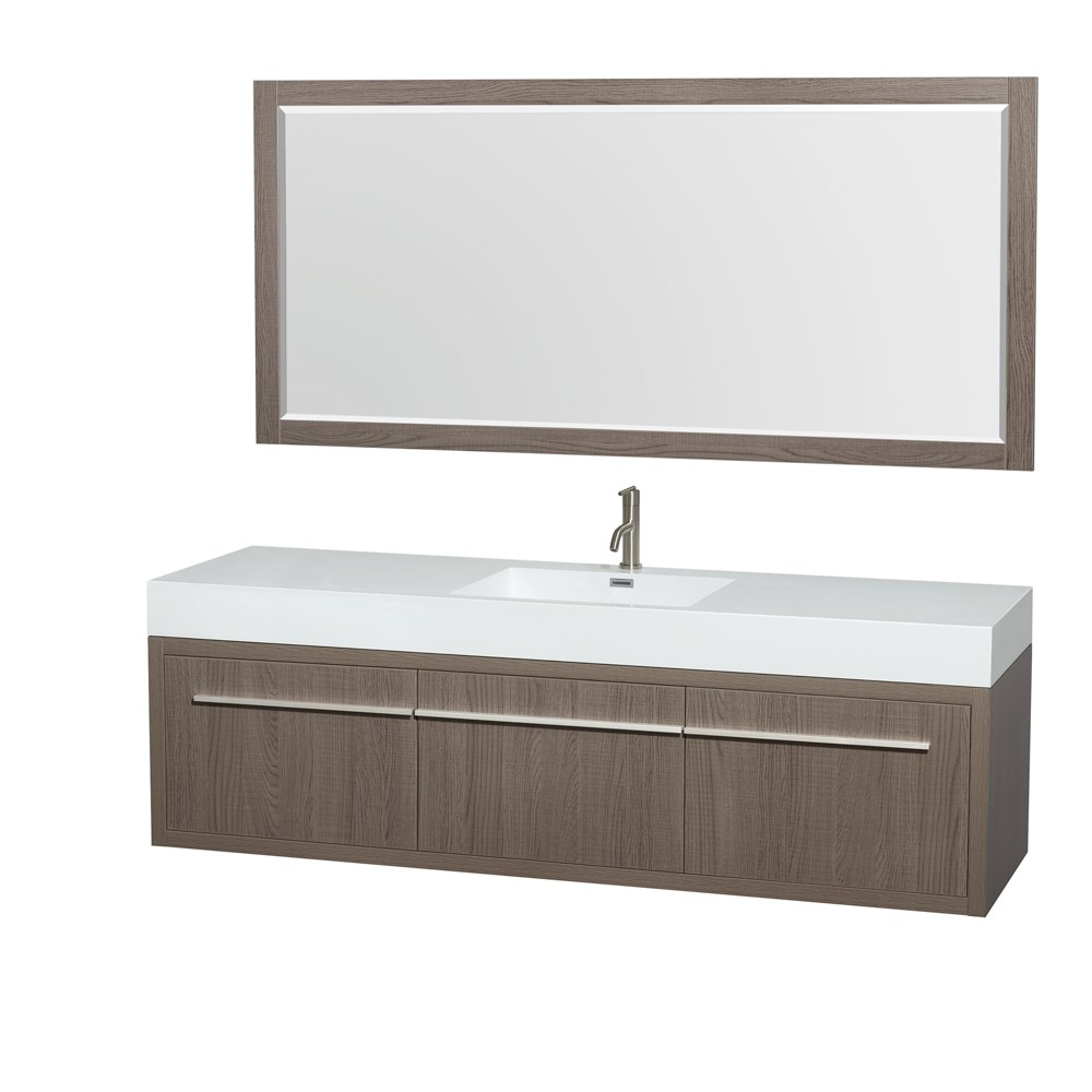 "Axa 72"" Wall-Mounted Single Bathroom Vanity Set With Integrated Sink by Wyndham Collection - Gray Oaknohtin Sale $1599.00 SKU: WC-R4300-72-VAN-GRO-SGL :"