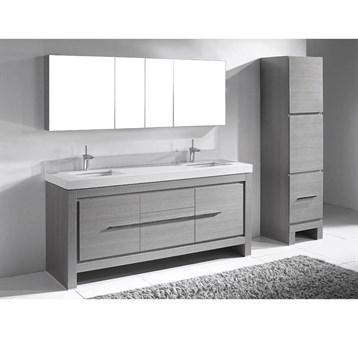 "Madeli Vicenza 72"" Double Bathroom Vanity For Quartzstone Top, Ash Grey B999-72D-001-AG-QUARTZ by Madeli"