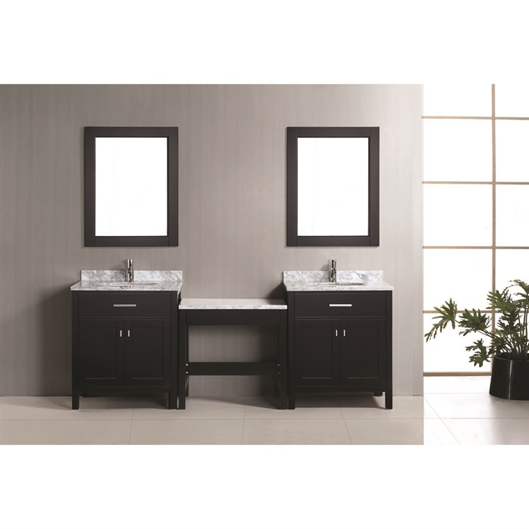 "Design Element London Two 30"" Single Vanities with Make-Up Table - Espresso DEC076EX2_MUT"