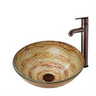 VIGO Mocha Swirl Glass Vessel Sink and Seville Faucet Set in Oil Rubbed Bronze Finish VGT872