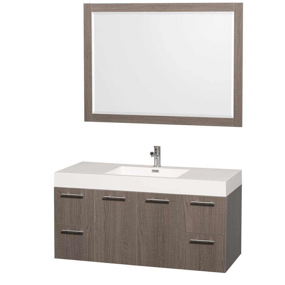 "Amare 48"" Single Bathroom Vanity in Gray Oak, Acrylic Resin Countertop, Integrated Sink, and 46"" Mirror WCR410048GOAR"