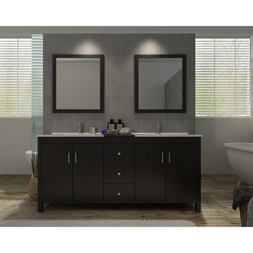 "Ariel Hanson 72"" Double Sink Vanity Set with Black Granite Countertop, Espresso K072D-ESP by Ariel"
