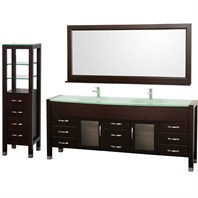 "Daytona 78"" Double Bathroom Vanity Set & Side Cabinet by Wyndham Collection - Espresso WC-A-W2200-78-ESP-SET"