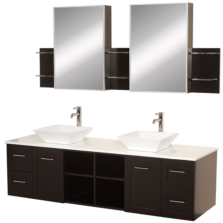 "Avara 72"" Wall-Mounted Double Bathroom Vanity Set by Wyndham Collection - Espresso WC-WHE007-SH-72-ESP-"