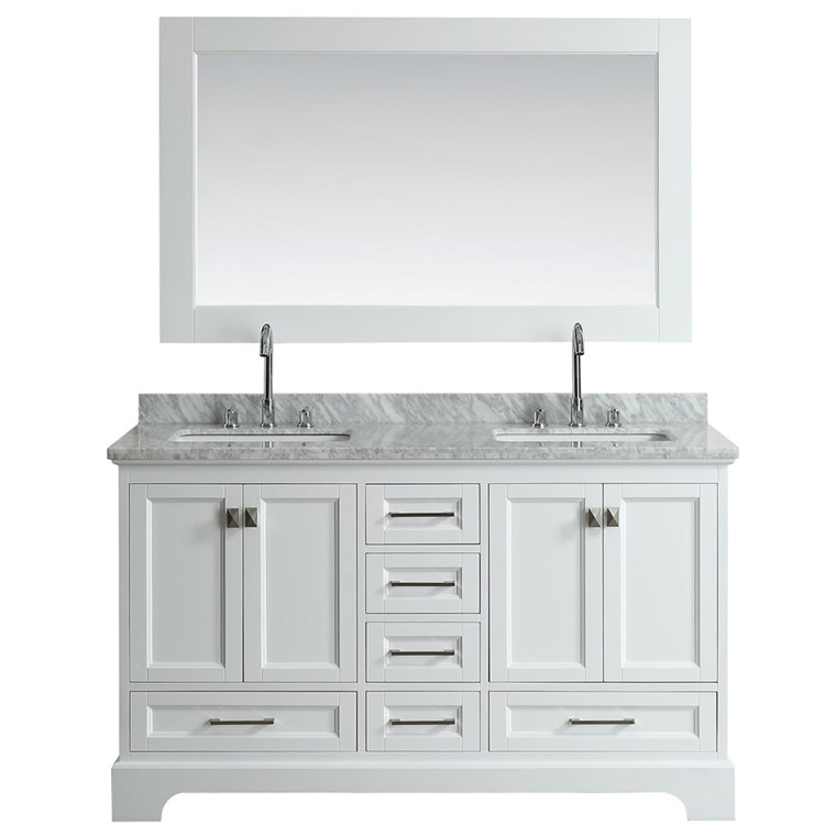 "Design Element Omega 61"" Double Sink Vanity - White DEC068A-W"