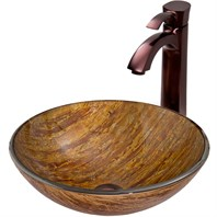 VIGO Amber Sunset Glass Vessel Sink and Otis Faucet Set in Oil Rubbed Bronze VGT342