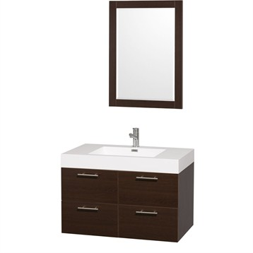 """Amare 36"""" Wall-Mounted Bathroom Vanity Set With Integrated Sink by Wyndham Collection, Espresso... by Wyndham Collection®"""