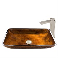 VIGO Rectangular Russet Glass Vessel Sink and Blackstonian Faucet Set VGT911-