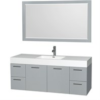 "Amare 60"" Wall-Mounted Single Bathroom Vanity Set with Integrated Sink by Wyndham Collection - Dove Gray WC-R4100-60-VAN-DVG-"