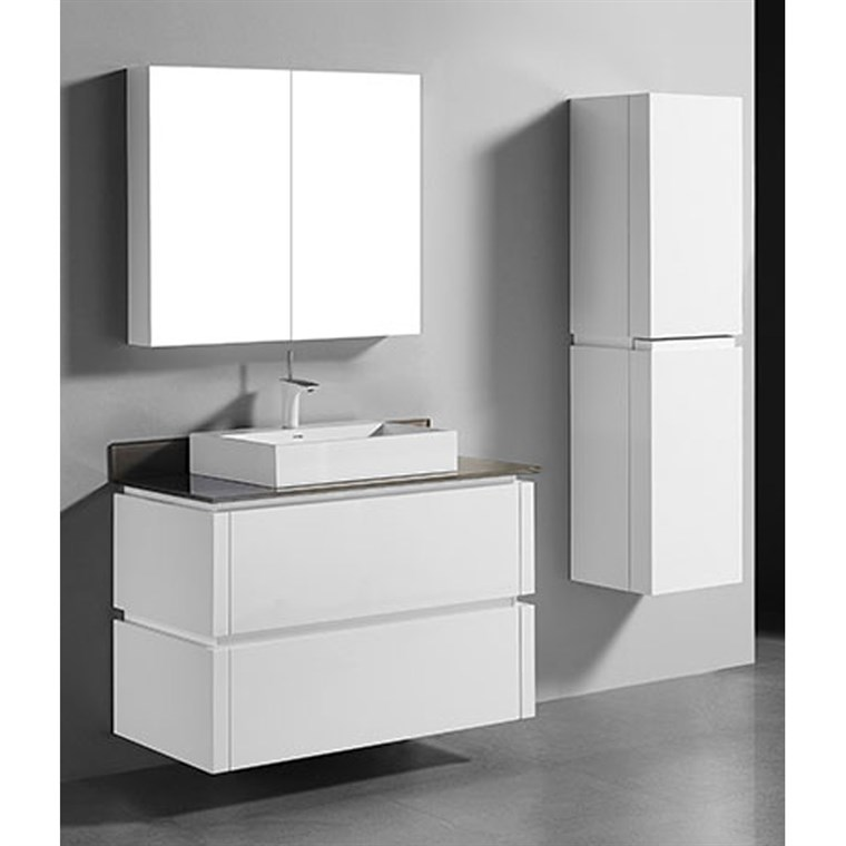 "Madeli Cube 42"" Wall-Mounted Bathroom Vanity for Glass Counter and Porcelain Basin - Glossy White B500-42-002-GW-GLASS"