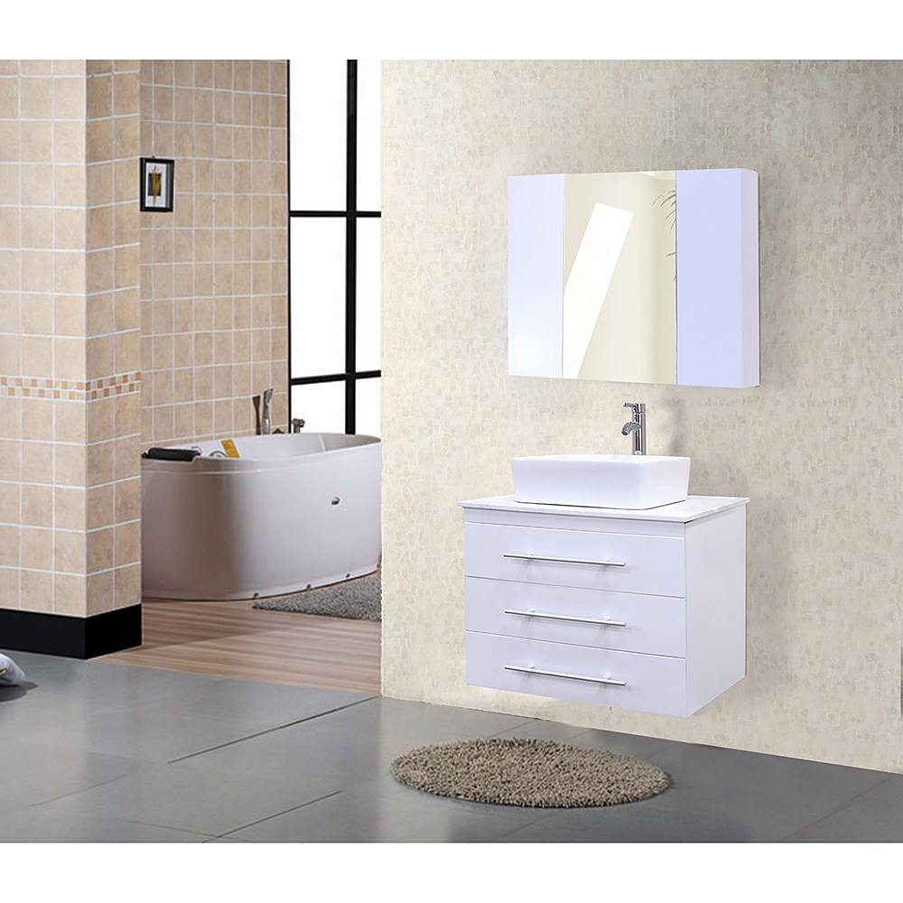 Design element portland 30 single sink wall mount vanity set white free shipping modern for Bathroom vanity portland oregon