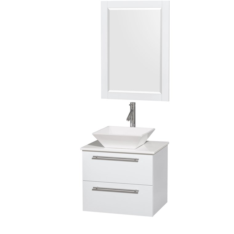 "Amare 24"" Wall-Mounted Bathroom Vanity Set with Vessel Sink by Wyndham Collection - Glossy White WC-R4100-24-WHT"