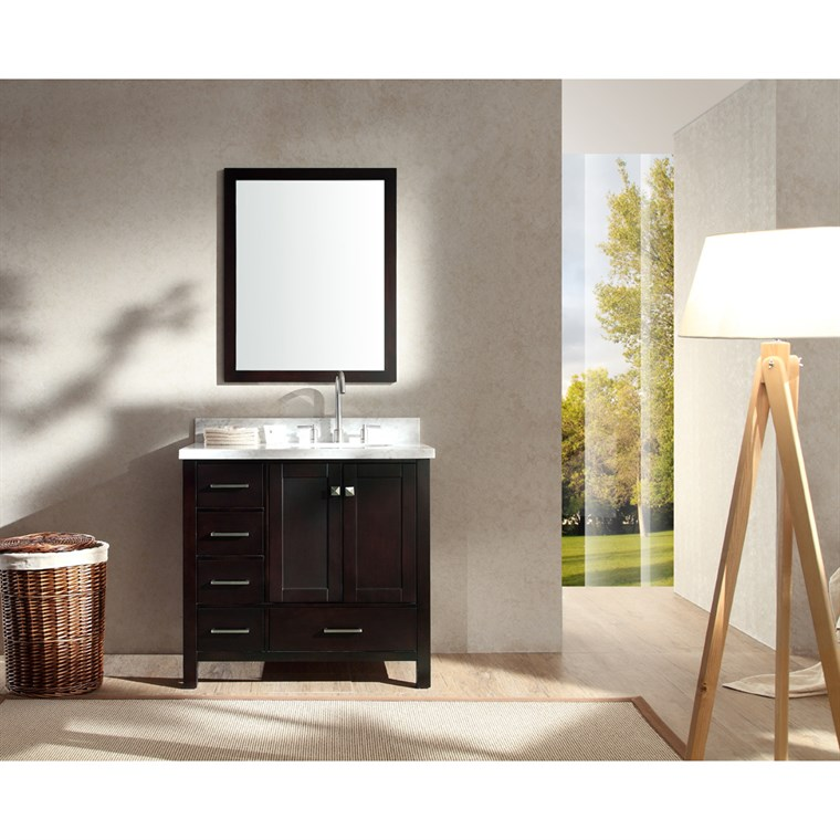 "Ariel Cambridge 37"" Single Sink Vanity Set with Right Offset Sink and Carrera White Marble Countertop - Espresso A037S-R-ESP"