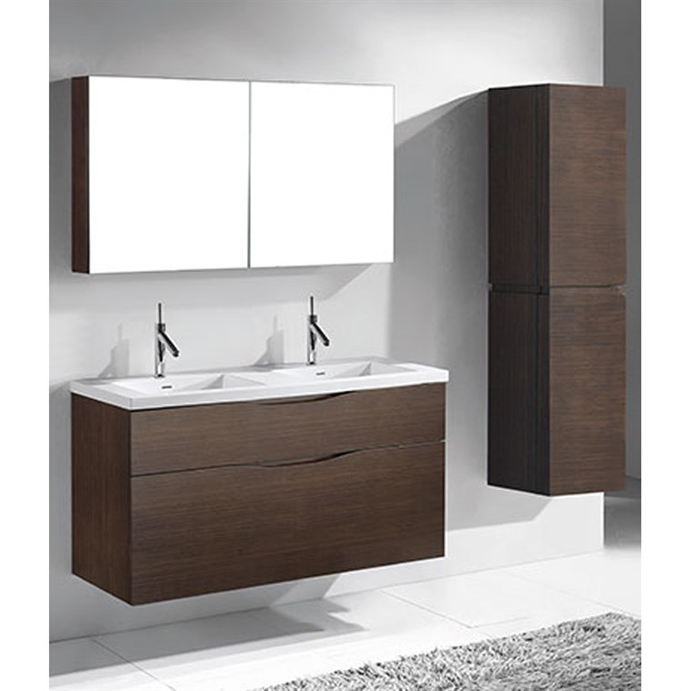 "Madeli Bolano 48"" Double Bathroom Vanity for Integrated Basin - Walnut B100-48D-022-WA"
