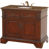 "Somerset 43"" Traditional Wood Bathroom Vanity - Cherry w/ Baltic Brown Granite Counter"