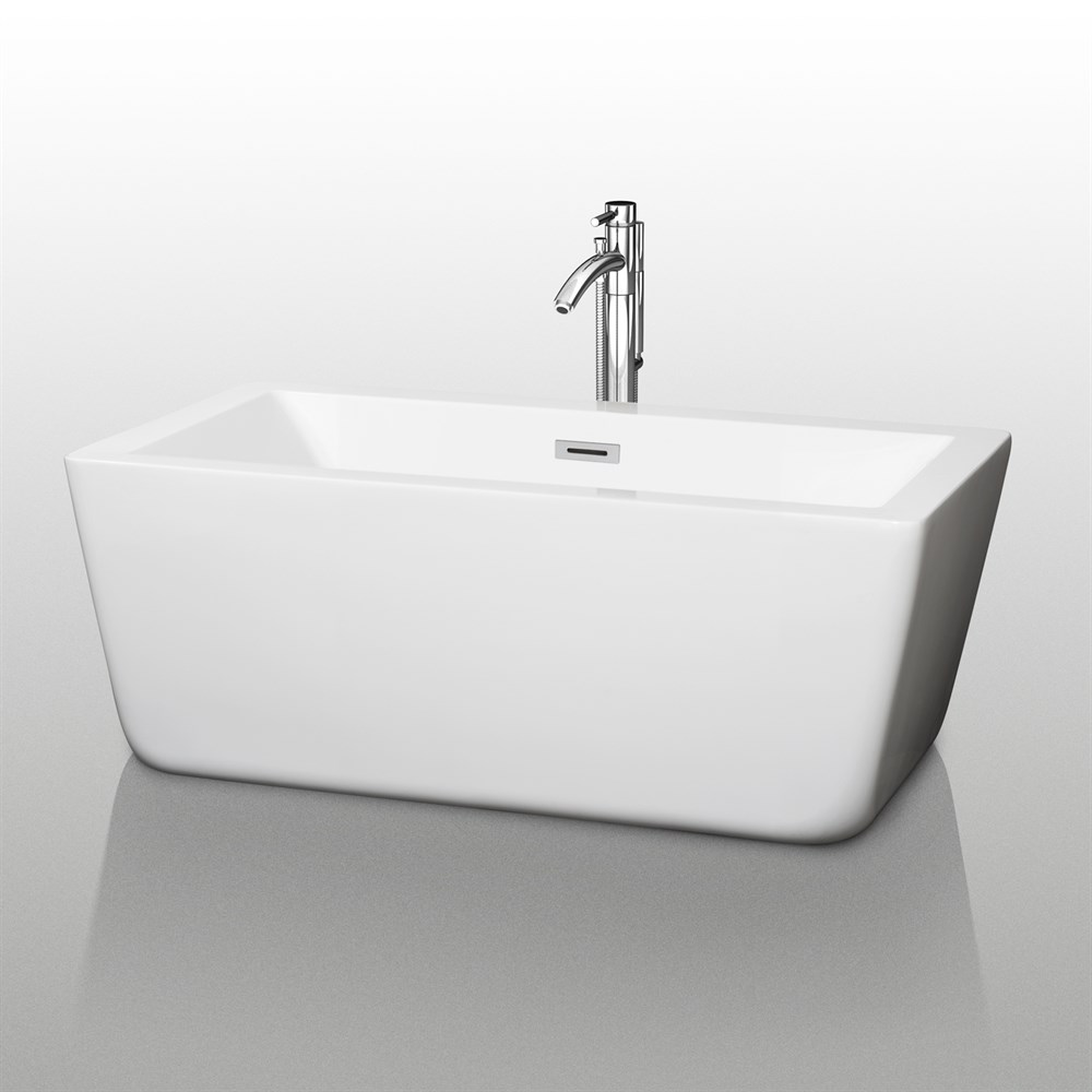 "Laura 59"" Small Soaking Bathtub by Wyndham Collection - White WC-BTM1005-59"