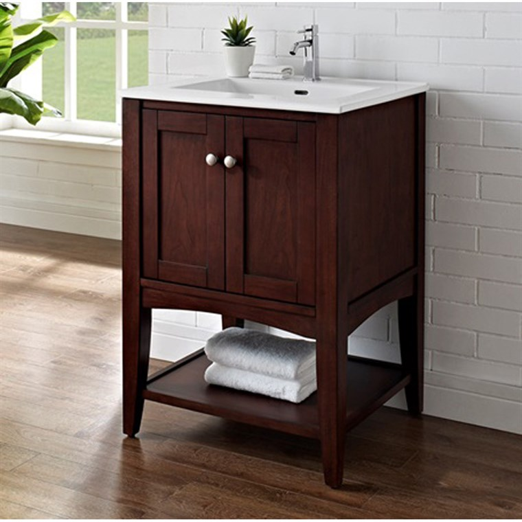 "Fairmont Designs Shaker Americana 24"" Vanity - Open Shelf for Integrated Top - Habana Cherry 1513-VH24-"
