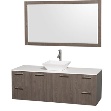 """Amare 60"""" Wall-Mounted Single Bathroom Vanity Set with Vessel Sink by Wyndham Collection, Gray Oak... by Wyndham Collection®"""