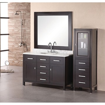 """Design Element London 48"""" Bathroom Vanity with White Carrera Countertop, Porcelain Sink and Mirror, Espresso... by Design Element"""