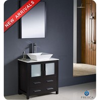 "Fresca Torino 30"" Espresso Modern Bathroom Vanity with Vessel Sink and Mirror FVN6230ES-VSL"