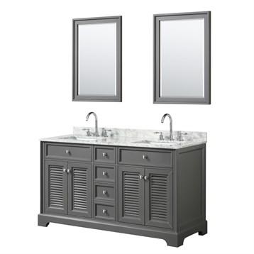 Tamara 60 Double Bathroom Vanity by Wyndham Collection - Dark Gray