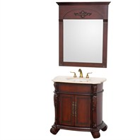 "Rutherford 36"" Traditional Bathroom Vanity with Ivory Marble Countertop - Cherry H5007-36-CH"