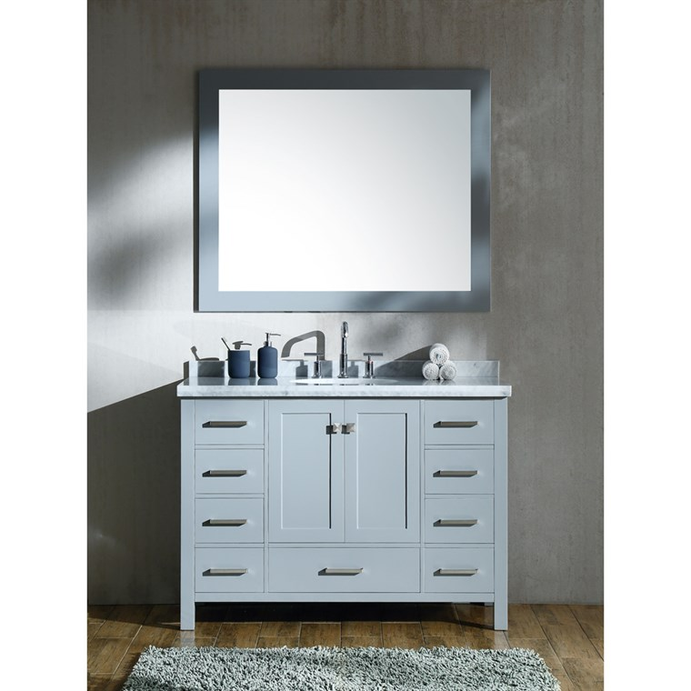 "Ariel Cambridge 49"" Single Sink Vanity Set with Carrara White Marble Countertop - Grey A049S-GRY"