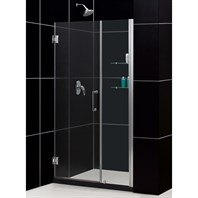 "Bath Authority DreamLine Unidoor Frameless Adjustable Shower Door with Glass Shelves (42""-43"") SHDR-20427210CS"