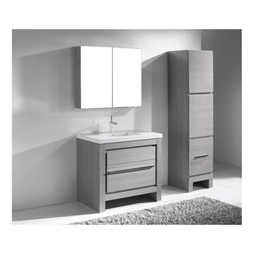 "Madeli Vicenza 36"" Bathroom Vanity For X-Stone, Ash Grey B999-36-001-AG-XSTONE by Madeli"