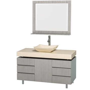 "Malibu 48"" Bathroom Vanity Set by Wyndham Collection, Gray Oak Finish with Ivory Marble Counter... by Wyndham Collection®"