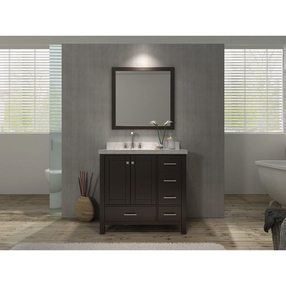 "Ariel Cambridge 37"" Single Sink Vanity Set with Left Offset Sink and Carrera White Marble Countertop - Espressonohtin Sale $1099.00 SKU: A037S-L-ESP :"