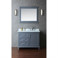 "Seacliff by Ariel Nantucket 42"" Single Sink Vanity Set with Carrera White Marble Countertop - Whale Grey SC-NAN-42-SWG"