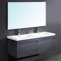 Fresca Largo Black Modern Bathroom Vanity with Wavy Double Sinks with Mirror FVN8040BW