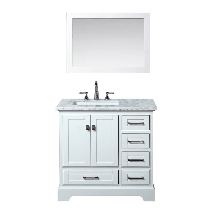 "Stufurhome Newport White 36"" Single Sink Bathroom Vanity with Mirror - White HD-7130W-36-CR"