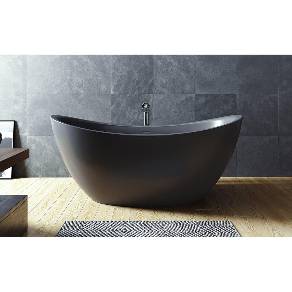 Aquatica Purescape 171 Black Freestanding Solid Surface Bathtub ...