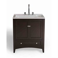"Stufurhome 30.5"" Expresso Laundry Single Sink Vanity - Dark Expresso GM-Y01"