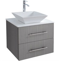 "Bianca 24"" Wall-Mounted Modern Bathroom Vanity - Grey Oak WHE007-24-GROAK"