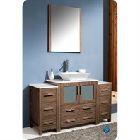 "Fresca Torino 54"" Walnut Brown Modern Bathroom Vanity with 2 Side Cabinets & Vessel Sink FVN62-123012WB-VSL"