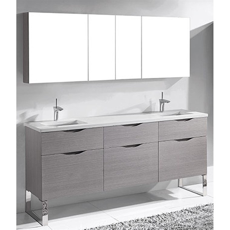 "Madeli Milano 72"" Double Bathroom Vanity for Quartzstone Top - Ash Grey B200-72D-021-AG-QUARTZ"