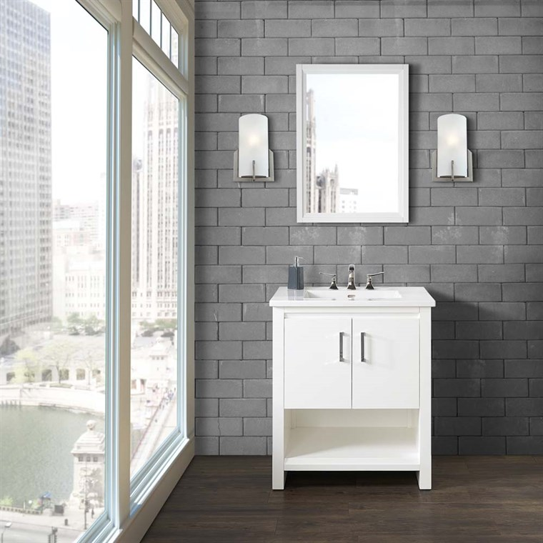 "Fairmont Designs Studio One 30"" Vanity for Integrated Top - Glossy White 1517-V30-"