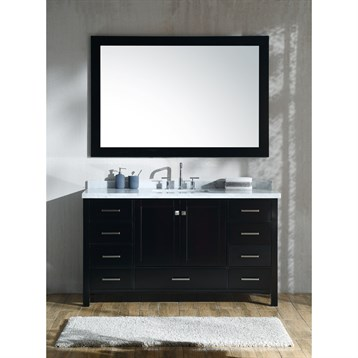 """Ariel Cambridge 61"""" Single Sink Vanity Set With Rectangle Sink And Carrara White Marble Countertop - Espresso"""