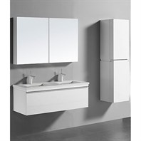 "Madeli Venasca 48"" Double Bathroom Vanity for Quartzstone Top - Glossy White B990-48D-002-GW-QUARTZ"