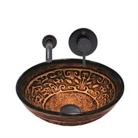 VIGO Golden Greek Glass Vessel Sink and Olus Wall Mount Faucet Set in Antique Rubbed Bronze Finish VGT904