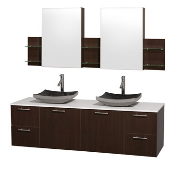 """Amare 72"""" Wall-Mounted Double Bathroom Vanity Set with Vessel Sinks by Wyndham Collection, Espresso... by Wyndham Collection®"""