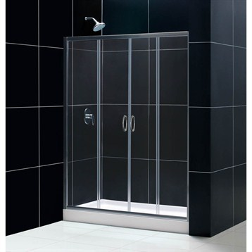 Bath Authority DreamLine Visions Frameless Sliding Shower Door, Single Threshold Shower Base and QWALL-5 Shower... by Bath Authority DreamLine